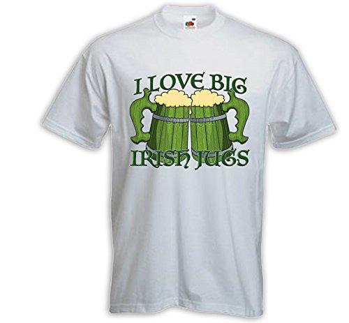 Irish Pub T-Shirt Love Irish Jugs weiß Beer St Patrick Bier Trinker Weiß