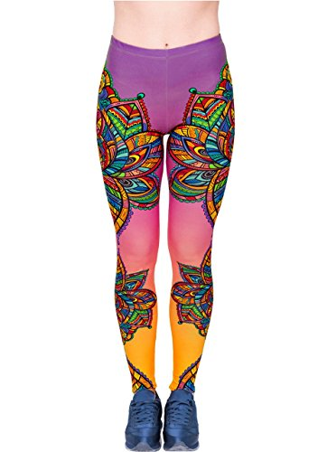 CHIC DIARY Damen bunt Sport Strumpfhose Leggings mit muster Fitness Yoga Joggen Pants Hose Mehrfarbig One size (#45999)