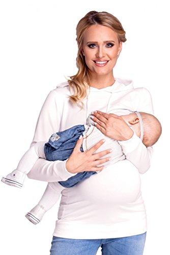 Happy Mama. Donna felpa cappuccio per l'allattamento top a strati prémaman. 272p Bianco sporco