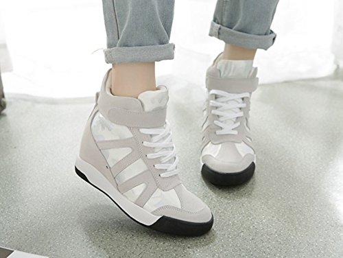 Dayiss Damen Hohe Sneaker Keilabsatz Stiefeletten Freizeitschuhe Schnürschuh Turnschuh Sport & Outdoors Weiß
