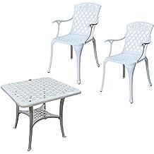 Hochwertig Lazy Susan   SANDRA Quadratischer Kaffeetisch Mit 2 ROSE Stühlen    Gartenmöbel Set Aus Metall,