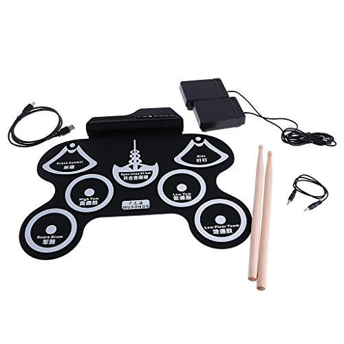 Gazechimp USB MIDI Elektronische Roll Up E-Drum Schlagzeug Musik Set - Schwarz + Weiß