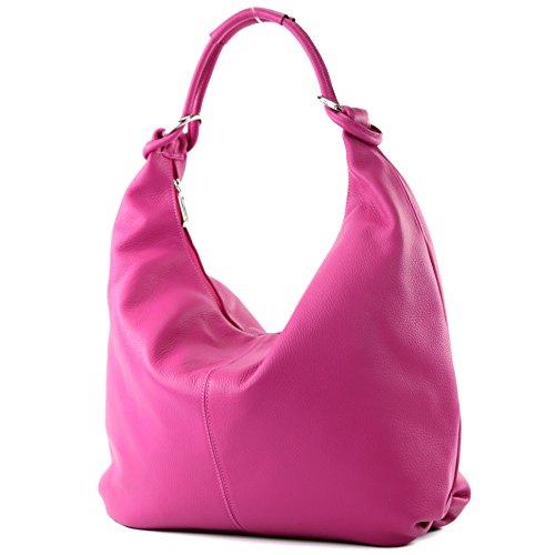 modamoda de - ital. Ledertasche Damentasche Hobo Bag Schultertasche Shopper Groß Leder 337, Präzise Farbe:Taupe modamoda de - Made in Italy