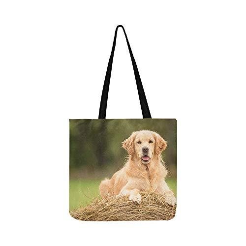 Schönheit Golden Retriever Hund Entspannen Auf Leinwand Tote Handtasche Umhängetasche Crossbody Taschen Geldbörsen Für Männer Und Frauen Einkaufstasche -