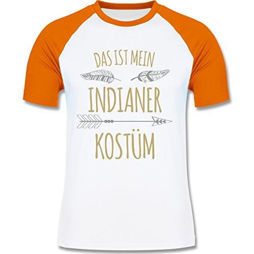 Shirtracer Karneval Fasching Das ist Mein Indianer Kostüm Herren Baseball  Shirt Weiß/Orange