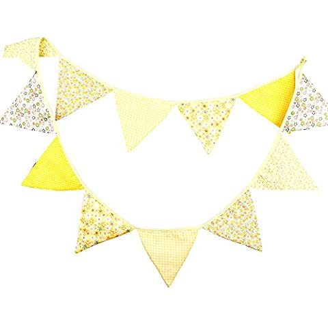 G2PLUS Lovely Bunting 10 Feet Flag Banner Pennant Flag Garlands Fabric Triangle Flags Double Sided Vintage Cloth Shabby Chic Decoration for Birthday Parties Ceremonies Kitchen Bedrooms