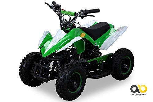 Actionbikes Motors Mini Kinder ATV 49 cc Racer Pocket Quad Kinderquad Kinderfahrzeug Pocketquad (Grün/Weiß)