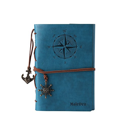 Leather Journal Notebook, MALEDEN Refillable Spiral Daily Notepad Classic Embossed Travel Journal Diary with Blank Pages and Retro Pendants (Sky Blue)