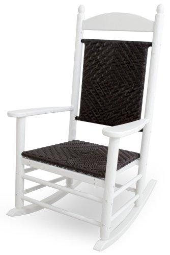 CASA BRUNO Jefferson, fauteuil à bascule, avec le siège et le dos tressée, polyéthylène PEHD, blanc - résistance inconditionnelle aux intempéries