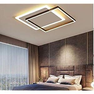 LED Deckenleuchte Dimmbar 3000K-6500K Wohnzimmer Esstischleuchte Schlafzimmer Lampe mit Fernbedienung Modern Eckig Design Metall Acryl Dekor Deckenlampe für Flurlampe Badezimmerlampe Esszimmer Lampen