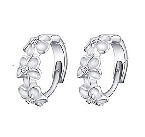 men 925 Sterling Silber Ohrringe Ohrstecker (Silber Blumen-ring)