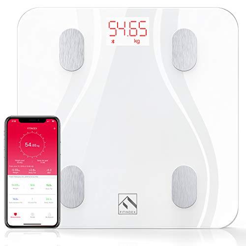 Körperfettwaage Smart Bluetooth Hochpräzise Körperwaagen mit Verbesserter APP, Digitale Personenwaage Testsieger FITINDEX Waage mit Körperfett Gewicht BMI Muskelmasse, Weiß