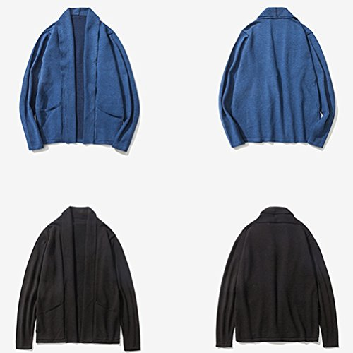 Zhuhaitf Beiläufig Style Mens No Button Cardigan Shawl Collar Sweater Solid Color Outerwear Blue