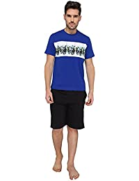 Nightwear For Men - Night Suit - Tshirt & Shorts Combo Set - Sinker Material - Blue Color - Half Sleeves - Branded...