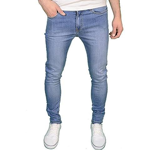 Enzo Mens Designer Branded Super Stretch Skinny Fit Jeans (40W