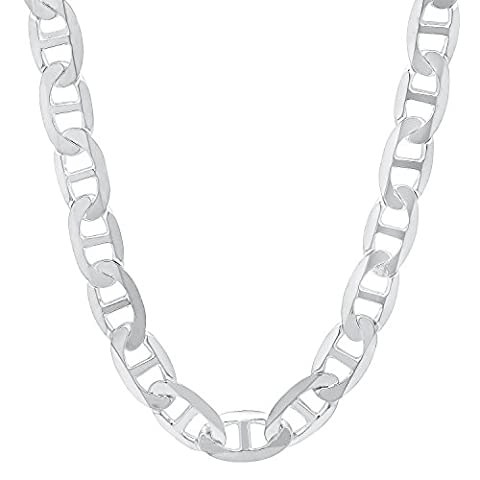 Solid 925 Sterling Silver 7.8mm Beveled Flat Mariner Link Chain, 50 cm
