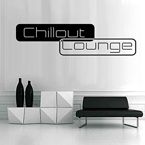 denoda® Chillout Lounge - Wandtattoo Schwarz 190 x 50 cm (Wandsticker Wanddekoration Wohndeko Wohnzimmer Kinderzimmer Schlafzimmer Wand Aufkleber)