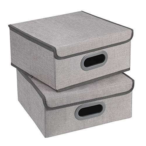 TERRA SELL Aufbewahrungsbox mit Deckel/Sortierbox/Ordnungsbox/Faltbox/Hochwertige Stoffbox im 2er-Set 32x32x15cm