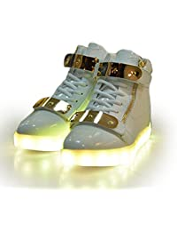 Monika Creations Unisex USB Rechargeable White High Top Metal Velcro Flashing LED Simulation Shoes Sneaker - Light...