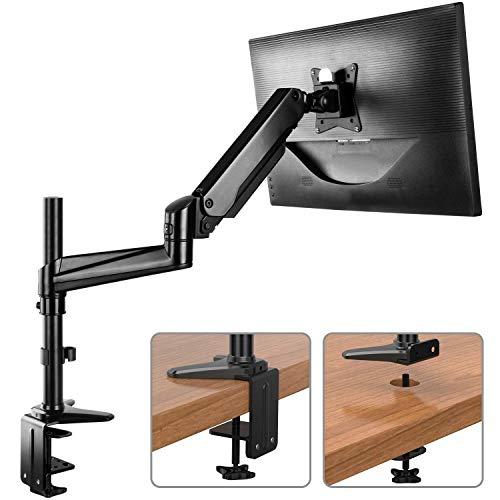HUANUO Monitor Halterung Höhenverstellbar, Aluminum Gasdruckfeder Arm 360° Drehbar für 13 bis 32 Zoll Bildschirm, 2 Montageoptionen