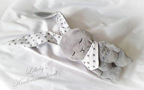 Stofftier Hase - mit NAMEN BESTICKT - Kuscheltier Baby Kinder Geschenk personalisiert mit Wunschnamen - Taufe (Hellgrau, Weiß, Sterne) (Personalisierte Stofftiere Für Babys)