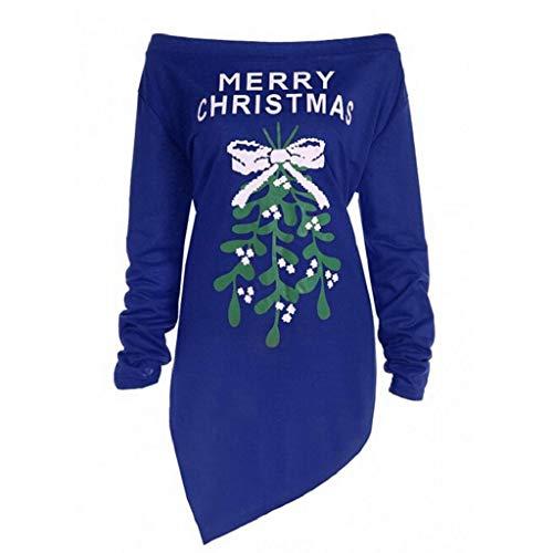 VJGOAL Damen Kleid, Gute Qualität Weihnachten Geschenke Buchstabe-Weihnachtsbaum druckt langes Hülsen-Party herbstlich Winter Lange gerade Tops Bluse (Blau, 36)