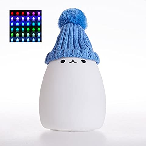 InnoBeta Dondidondy Cute Rechargeable Portable Tap-Control LED Color Changing Mood Silicone Night Light (Dimmable with Warm White Light + 256RGB Light) 2017 New Version With An Lovely Removable Hat, for Baby Kids Children Adults as Decoration, Table Lamp, Gifts, Presents