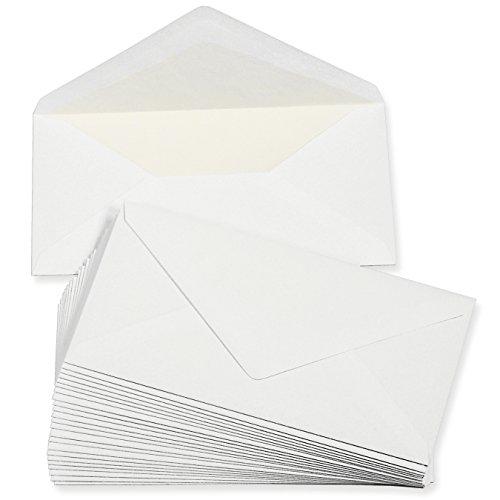 PREMIUM Briefumschläge DIN lang weiss, gefüttert (25 Stück) weiß mit Innenfutter/Seidenfutter