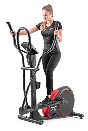 Hop-Sport Crosstrainer mit Unterlegmatte HS-095C Ellipsentrainer 20,5kg Schwungmasse - Ellipsen Crosstrainer max. Benutzergewicht 135kg - Crosswalker schwarz