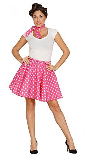 50's Pin-up-Girl Polka Dot Rock und Halstuch Pink/Weiß -