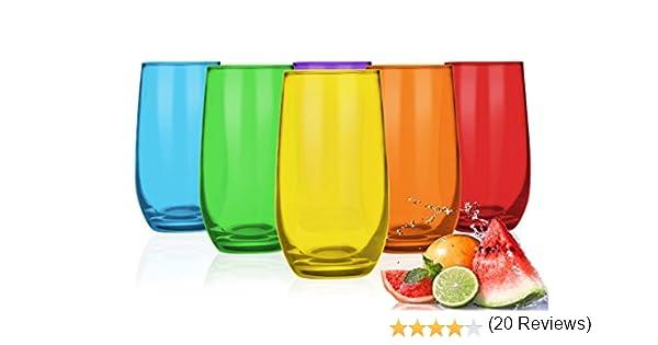 6/Verres multicolores 250/ml Verres /à eau jus Verres Verres /à Cocktail verres /à whisky