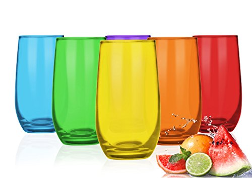 6 Bunte Trinkgläser 350ml Wassergläser Saftgläser Cocktailgläser Longdrinkgläser