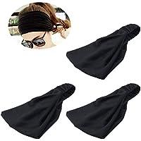 Frcolor 3 piezas de diadema de los deportes de pelo elástico de algodón banda de pelo sudor para el ejercicio de las mujeres y el yoga (negro)