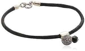 Dew Sterling Silver Ball & Bead On Black Thong Bracelet 78238BGB06 of 19cm