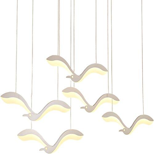 3-licht-acryl (Personalisierte Kreative Pendelleuchte Modern LED Wohnzimmerlampe mattweiß Metall Möwe Design Kronleuchter Innenbeleuchtung Hängeleuchte Acryl Lampenschirm Hängelampe Warmes Licht 3000K, 3-flammig)