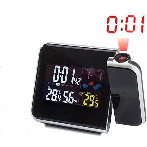 PLYY Digitale Projektion Wecker Wetterstation mit Temperatur-Thermometer Luftfeuchtigkeit Hygrometer/Bedside Wake up Projektor Uhr, Black