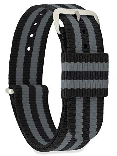 MOMENTO Damen Herren NATO Nylon Ersatz Uhren-Armband Strap mit Edelstahl-Schliesse in Silber und Nylon-Armband in Schwarz Grau 22mm