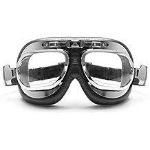 BERTONI Gafas Moto Mascara Vintage Aviadoras - Montura de Acero Cromo - Lentes Anti-Vaho