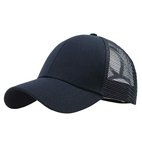 a0256591 PRINCER Baseball Cap Mens Women Mesh Cap Classic Plain Hat, Sun Messy High  Bun Cap Adjustable Pony Caps, Sports Casual Trucker Hats Cap Navy