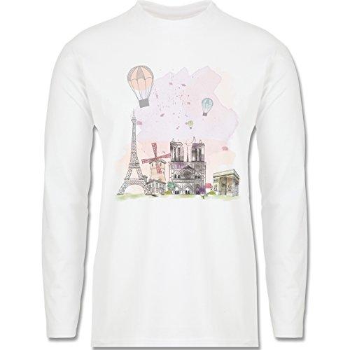 Städte - Paris Wasserfarbe Watercolour - Longsleeve / langärmeliges T-Shirt für Herren Weiß