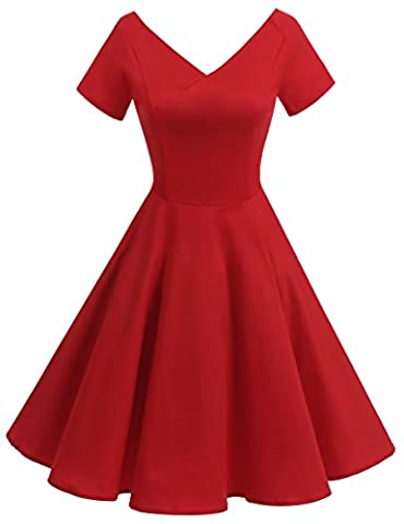 Gardenwed Robe de Cocktail Rétro 1950s Manches courtes Robe Vintage Rockabilly Pin up Classique 50 années Red 2XL