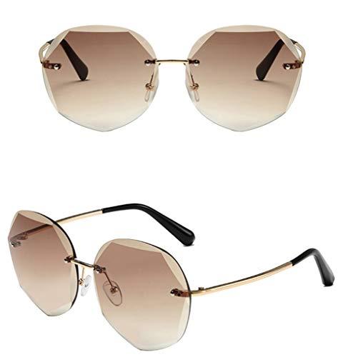 Runde randlose Modeerscheinungs-Sonnenbrille-Frauen PC Objektiv-Steigungs-UV400 staubdichte Gläser für das Freizeit-Einkaufen-Fahren
