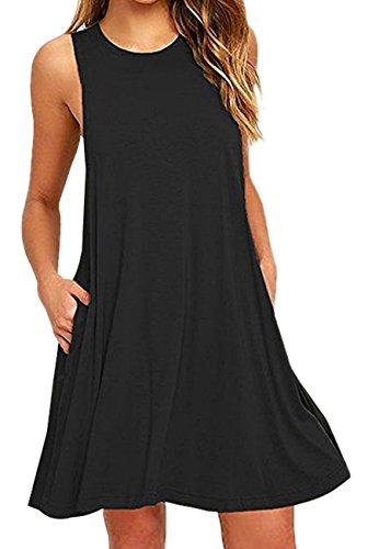 OMZIN Damen T-Shirtkleid Ohne Arm Loose Shirtkleid Tanktop Einfärbig Lockeres Sommerkleid Schwarz S - Herren-weste-kleid