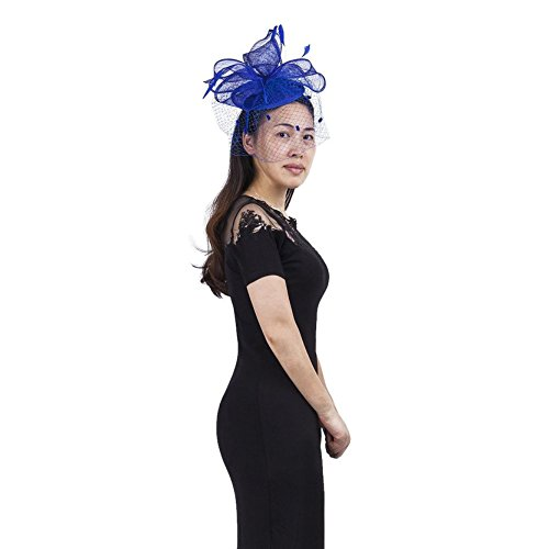 Janeo Theodora Fascinator, Classic Double Bows on a Circular Disc Base, all made of Sinamay Fabric, Net Veil & Feathers, a softly Structured Style,Grey,Ivory,Rosy Mauve,Coral Peach and Electric Blue.