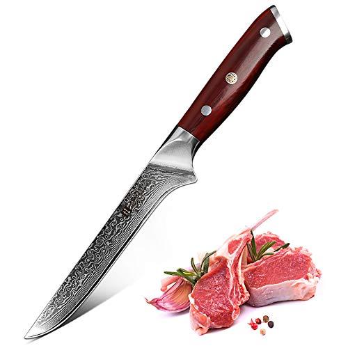 XINZUO Damasco Cuchillo Deshuesador,15cm Acero de Alto Carbono 67 Capas Japon Damasco Cuchillos de Cocina, Profesional VG10 Menaje de Cocina con Rosewood Mango - Yu Serie