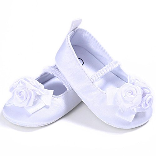 Culater® Scarpine per bambini Girl Kids morbida Sole Culla del bambino appena nato bianca