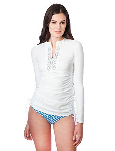 Cabana Life Damen UV Rashguard Sunburst, Weiß, 42, 422-WH (Cabana Beach Swimwear)