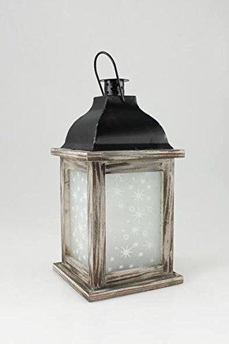 Goldbach Teelicht-Halter Teelicht Windlicht Holz Glas Kerzenhalter Laterne Holz-Laterne mit Sternen - 13 x 26 cm, braun