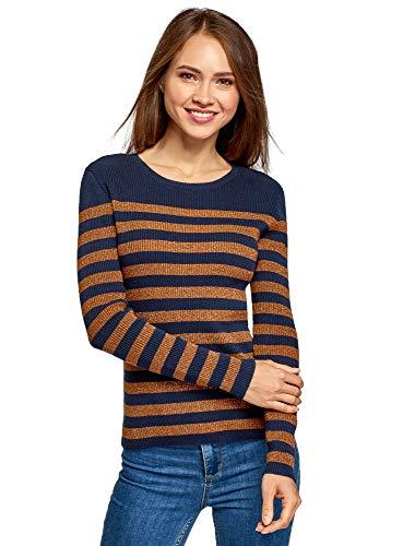 oodji Ultra Damen Pullover Gestreift mit Lurex, Braun, DE 32 / EU 34 / XXS -