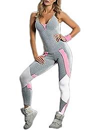 JackenLOVE Eté Femme Fashion Couleur Epissure Skinny Jumpsuit Rompers  Playsuits de Yoga Fitness Jogging Sexy Col 91c33d978b2
